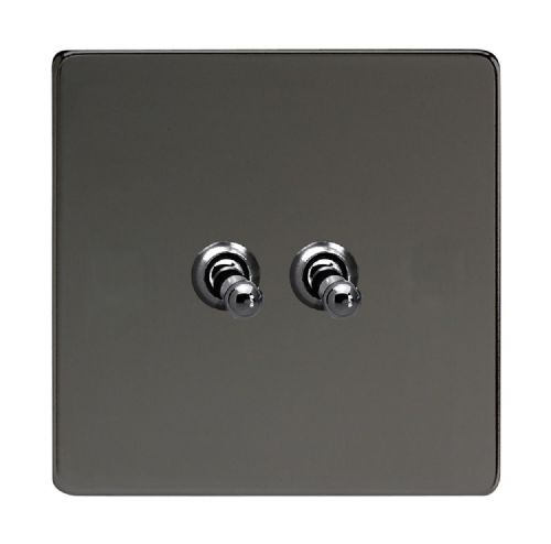 Varilight XDIT2S Screwless Iridium Black 2 Gang 10A 1 or 2 Way Toggle Light Switch